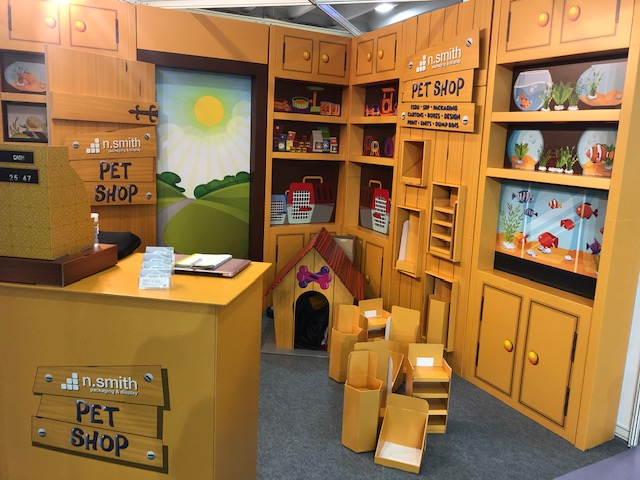n smith printed pet shop display unit exhibition cardboard